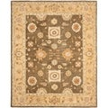 Hand-made Farahan Brown/ Taupe Hand-spun Wool Rug (4' x 6')