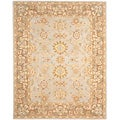 Hand-made Antiquities Teal/ Brown Hand-spun Wool Rug (9&#39; x 12&#39;)