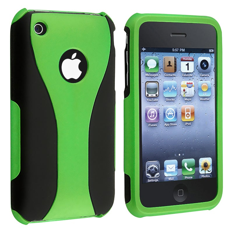 Green/ Black Cup Shape Snap-on Case for Apple iPhone 3G/ 3GS