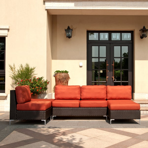 Angelo home napa springs red tulip 4 piece indoor outdoor wicker furniture set overstock Angelo home patio furniture