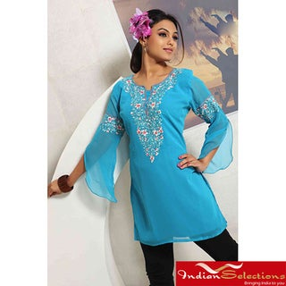 Blue Embroidered 3/4 Sleeve Kurti/Tunic (India)