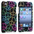 INSTEN Black Bling Peace Sign Snap-on iPod Case Cover for Apple iPod Touch 4th Gen