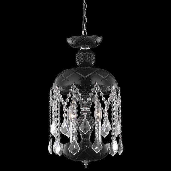 Somette Black 3-Light Crystal Chandelier