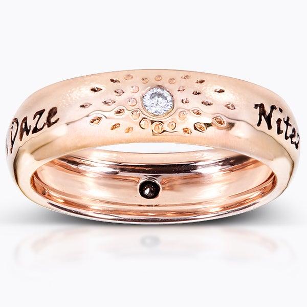 Annello Nitez N Daze 14k Rose Gold 1/10ct TDW Black and White Diamond Band (H-I, I1-I2)