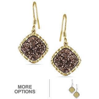 Miadora Sterling Silver Druzy Gemstone Dangle Earrings