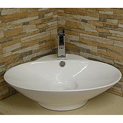 Somette Oval Vitreous-China White Vessel Sink