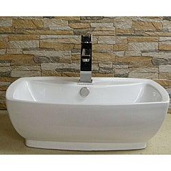 Somette Vitreous China Ceramic White Vessel Sink