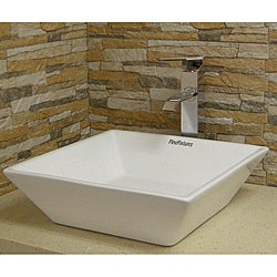 Somette Square Vitreous-China White Vessel Sink