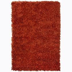 Handwoven Red Casual Mandara New Zealand Wool Shag Rug (9' x 13')