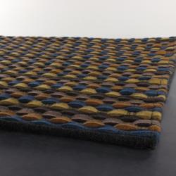 Handwoven Multicolor Mandara New Zealand Wool Striped Rug (5' x 7'6)