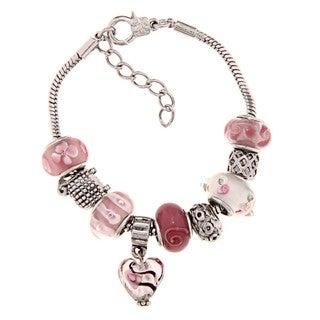 La Preciosa Silverplated Pink and White Glass Bead Charm Bracelet