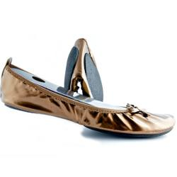 Fit In Clouds Women's Brown Patent Ballet Flats
