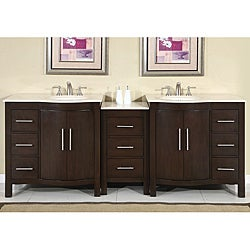Silkroad Exclusive Stone Counter Top Double Sink Cabinet Bathroom Vanity Lavatory (89-inch)
