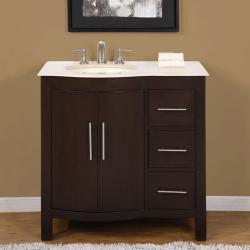Silkroad Exclusive Natural Stone Countertop Bathroom Single Sink Cabinet Lavatory (36-inch)
