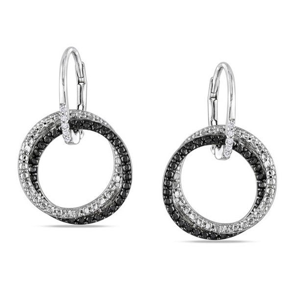 Haylee Jewels Sterling Silver White Diamond Dangle Earrings