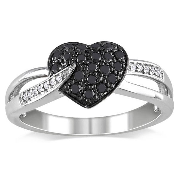Haylee Jewels Sterling Silver 1/3ct TDW Black and White Diamond Heart Ring (H-I, I2-I3)