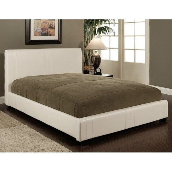 Abbyson Living Malibu White Bi-Cast Leather Full-Size Bed