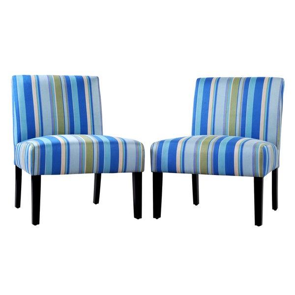 Portfolio Niles Sea Blue Stripe Armless Chair (Set of 2)