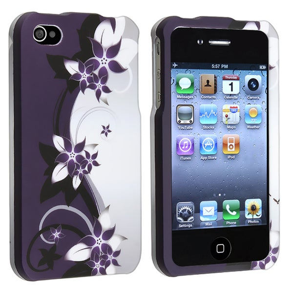 INSTEN Purple Flower Snap-on Rubber Coated Phone Case Cover for Apple iPhone 4/ 4S