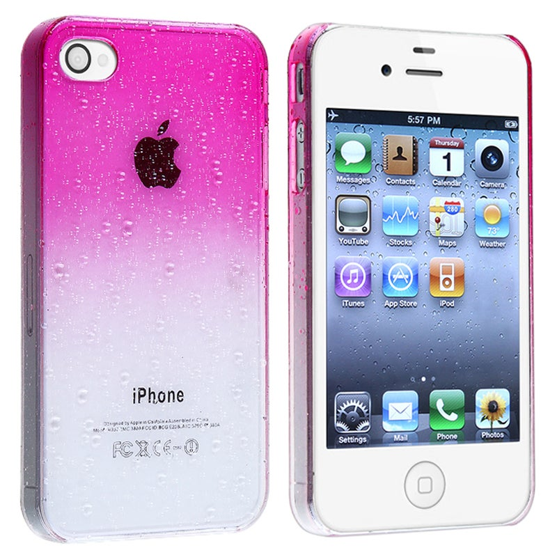 INSTEN Clear Hot Pink Waterdrop Snap-on Phone Case Cover for Apple iPhone 4/ 4S