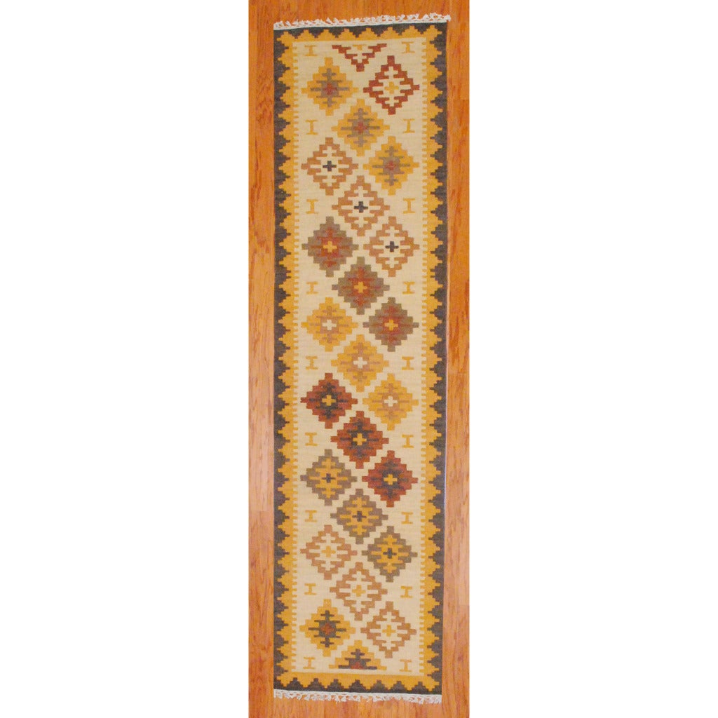 Indo Hand Knotted Kilim Ivory Rust Wool Rug 2 6 X 10
