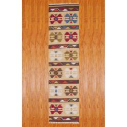 Indo Hand-woven Kilim Ivory/ Green Wool Area Rug (2'6 x 10')