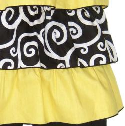 AnnLoren Girl's 2-piece Yellow/ Black Rumba Capri Set