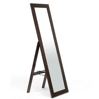 Lund Dark Brown Wood Modern Mirror with Built-In Stand
