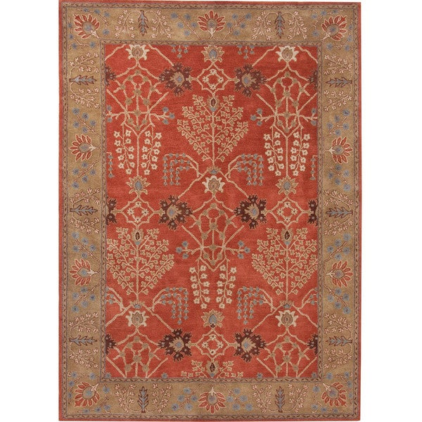 Hand-Tufted Transitional Red Wool Area Rug (5' x 8')