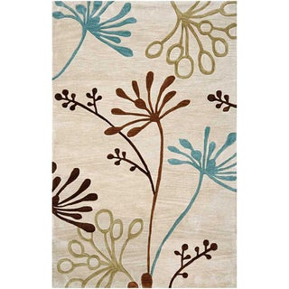 Hand Tufted White Area Rug (5'x7'6)