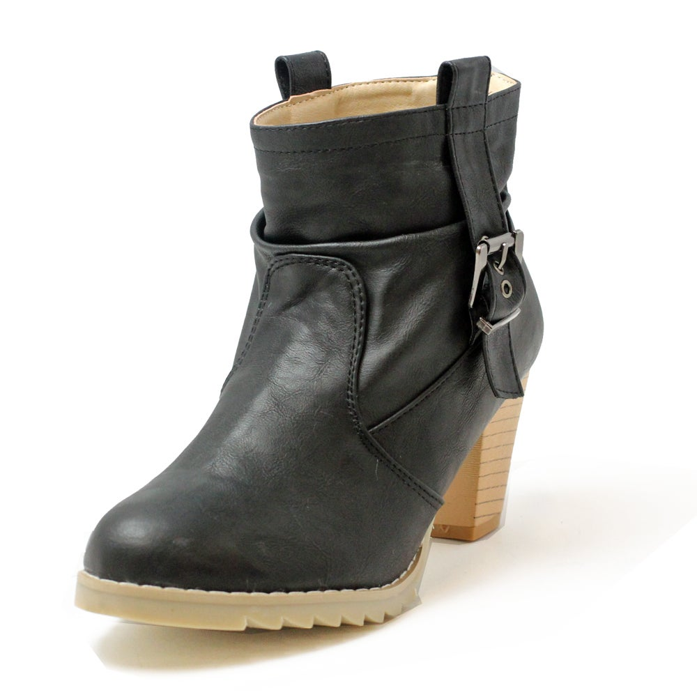 Russel Matos Women's Black High Heel Combat Ankle Boots