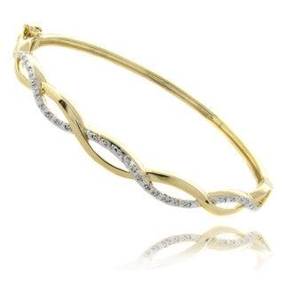 Finesque 14k Yellow or Rose Overlay Diamond Accent Infinity Bangle Bracelet