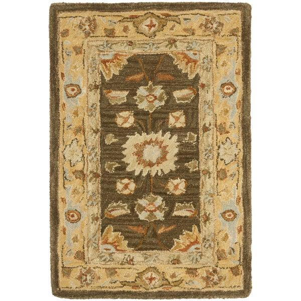 Safavieh Hand-made Farahan Brown/ Taupe Hand-spun Wool Rug (2' x 3')