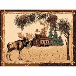 Lodge Design Moose & House Brown Area Ru