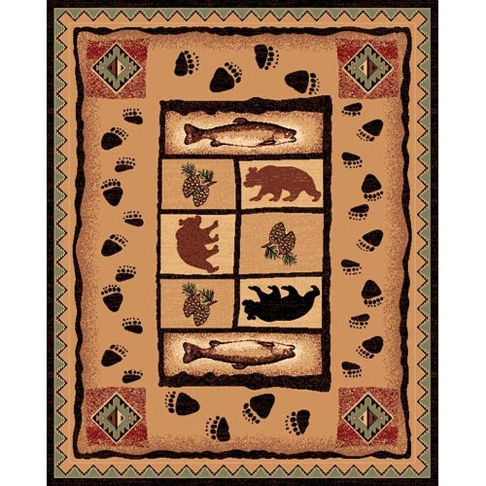 Fish & Bear Brown Rug (5'x7')
