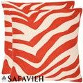 Safavieh Stripes 22-inch Embroidered Orange Decorative Pillows (Set of 2)