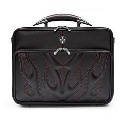 Zeyner Bullfight Leather Top-Zip 17-inch Laptop Briefcase