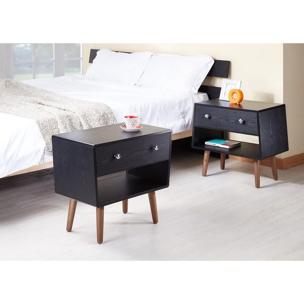 Furniture of America Nova Matte Black Night Stands/ End Tables (Set of 2)