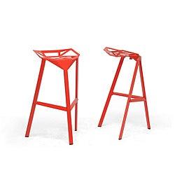 Kaysa Red Aluminum Modern Bar Stools (Set of 2)