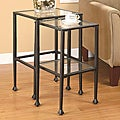 Black Tempered Glass and Metal Nesting Tables (Set of 2)