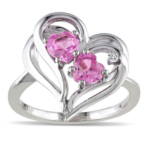 M by Miadora Sterling Silver Created Pink Sapphire and Diamond Accent Ring (1 1/5ct TGW)