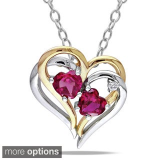 M by Miadora Sterling Silver Created Gemstone and Diamond Accent Necklace