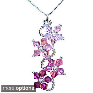 Sterling Silver Pink Crystal Flower Necklace (USA)
