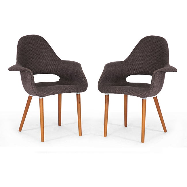 Forza Brown Fabric Mid-Century Modern Arm Chairs (Set of 2)