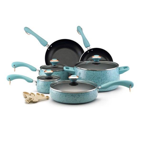 Paula Deen Collection Porcelain Nonstick 15-piece Set, Aqua Speckle