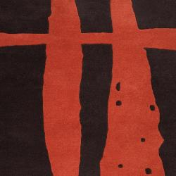 Noah Packard Hand-tufted Dark Brown/Red Contemporary Leetone New Zealand Wool Abstract Rug (8' x 11')