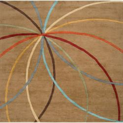 Hand-tufted Brown Contemporary Maritime Wool Abstract Rug (9' x 12')