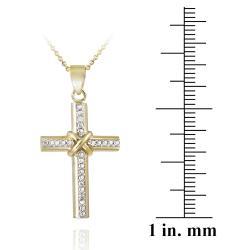 DB Designs Two-tone Diamond Accent Cross Necklace