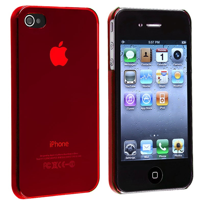 Red Snap-on Slim-fit Case for Apple iPhone 4/ 4S