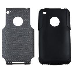 Black Skin/ Grey Mesh Hybrid Case for Apple iPhone 3G/ 3GS